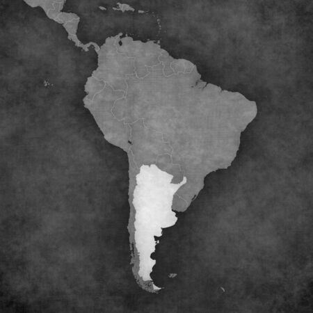 latin americans: Argentina on the map of South America. The Map is in vintage black and white style. The map has soft grunge and retro old paper atmosphere. Stock Photo