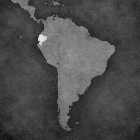 republic of ecuador: Ecuador on the map of South America. The map is in vintage black and white style. The map has soft grunge and retro old paper atmosphere.