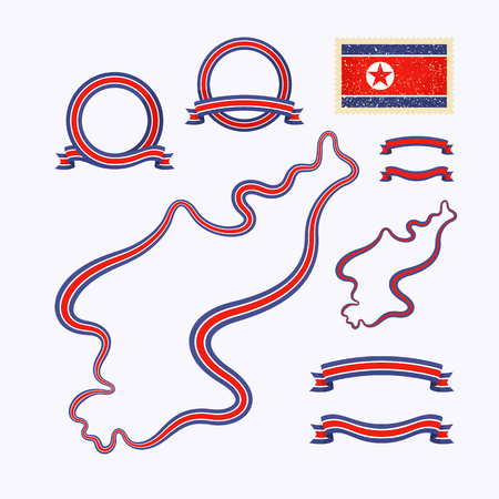 national colors: Outline map of North Korea. Border is marked with ribbon in national colors. The package contains frames in national colors and stamp with flag.