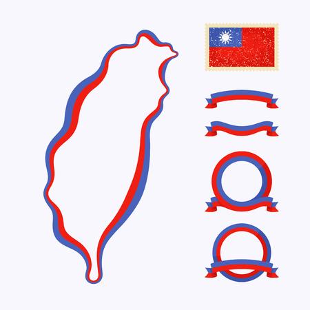 Fond de carte de Taiwan. Border est marqué avec un ruban aux couleurs nationales. Le paquet contient des cadres dans les couleurs nationales et cachet avec le drapeau. Banque d'images - 39493012