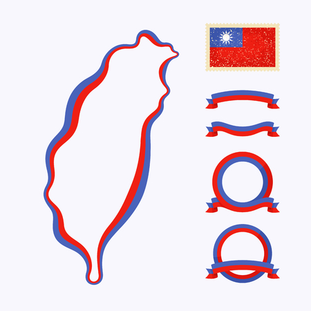 Fond de carte de Taiwan. Border est marqué avec un ruban aux couleurs nationales. Le paquet contient des cadres dans les couleurs nationales et cachet avec le drapeau.