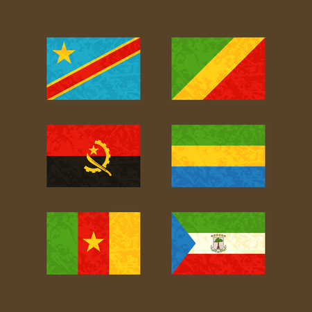 Flags of CongoKinshasa CongoBrazzaville Angola Cameroon Gabon and Equatorial Guinea. Flags with light grunge dirty effect.