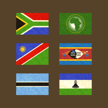 south africa soil: Flags of South Africa African Union Namibia Swaziland Botswana and Lesotho. Flags with light grunge dirty effect.