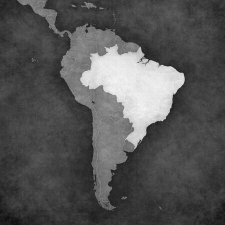 federative republic of brazil: Brazil on the map of South America. The map is in vintage black and white style. The map has soft grunge and retro old paper atmosphere.