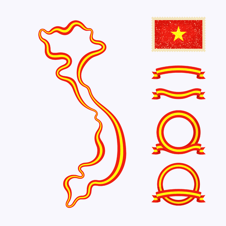 national border: Outline map of Vietnam. Border is marked with ribbon in national colors. The package contains frames in national colors and stamp with flag.