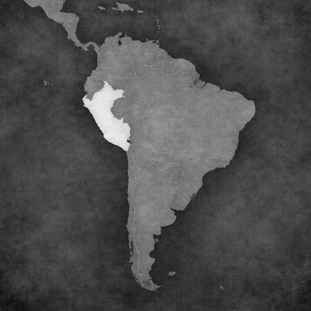 republic of peru: Peru on the map of South America. The map is in vintage black and white style. The map has soft grunge and retro old paper atmosphere. Stock Photo
