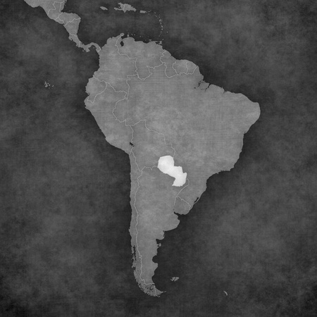 borderline: Paraguay on the map of South America. The map is in vintage black and white style. The map has soft grunge and retro old paper atmosphere.