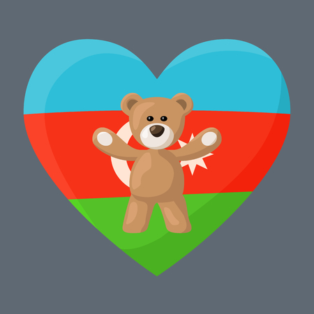 Teddy Bears with heart with flag of Azerbaijan. Illustration of travel souvenir from visiting the country.