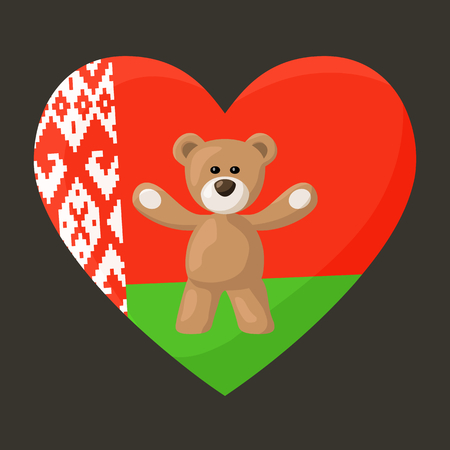 souvenir: Teddy Bears with heart with flag of Belarus. Illustration of travel souvenir from visiting the country.