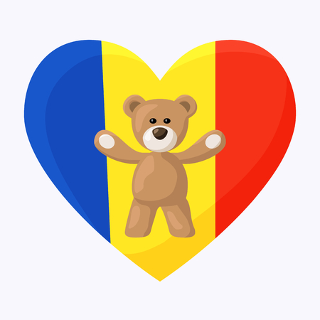 chadian: Teddy Bears with heart with flag of Romania also simple flag of Andorra and Chad. Illustration of travel souvenir from visiting the country.