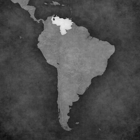 Venezuela on the map of South America. Stock Photo