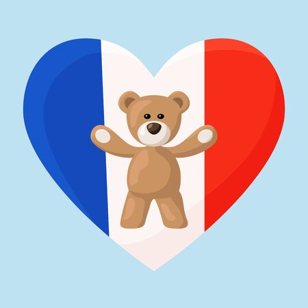 souvenir: Teddy Bears with heart with flag of France. Illustration of travel souvenir from visiting the country.