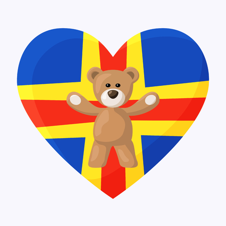 Teddy Bears with heart with flag of Aland Islands. Illustration of travel souvenir from visiting the country.