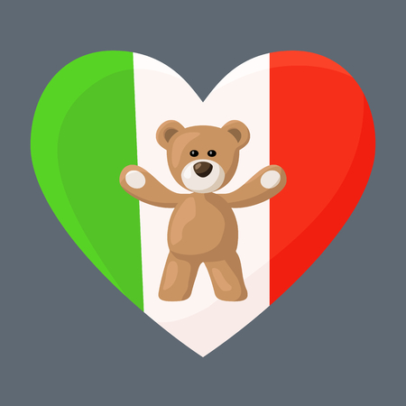 Teddy Bears with heart with flag of Italy also simple flag of Mexico. Illustration of travel souvenir from visiting the country. Vector