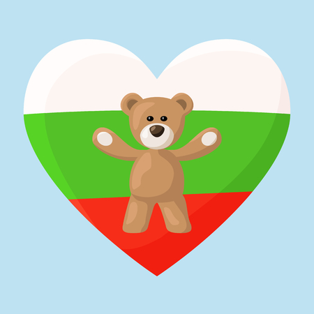 Teddy Bears with heart with flag of Bulgaria. Illustration of travel souvenir from visiting the country. Illustration