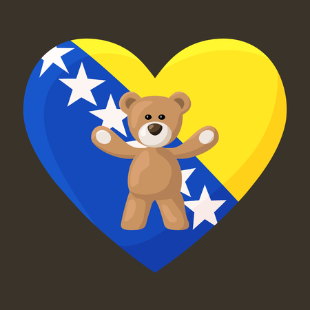 Teddy Bears with heart with flag of Bosnia and Herzegovina. Illustration of travel souvenir from visiting the country.