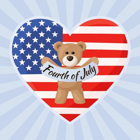 Teddy Bears with heart with flag of United States. Illustration of US Independence Day Fourth of July. Illustration