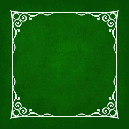 border silhouette: Decorative vintage frame silhouette with separated corners. You can easily change aspect ratio of frame. Illustration has green grunge background. Illustration