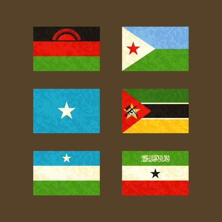 malawian flag: Flags of Malawi Djibouti Somalia Mozambique Puntland and Somaliland. Flags with light grunge dirty effect. Illustration