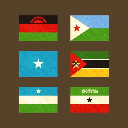 somaliland: Flags of Malawi Djibouti Somalia Mozambique Puntland and Somaliland. Flags with light grunge dirty effect. Illustration