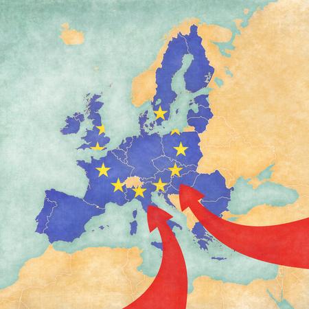유럽 마이그레이션. 아프리카와 아시아에서 EU 이민의 예시적인지도. 유럽 연합의 국기와지도. 스톡 콘텐츠