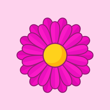 calendula flower: Simple illustration of violet flower with contour. Separate bloom.