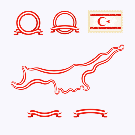 kibris: Outline map of Northern Cyprus. Border is marked with ribbon in national colors. The package contains frames in national colors and stamp with flag.
