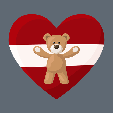 visitation: Teddy Bears with heart with flag of Latvia. Illustration of travel souvenir from visiting the country. Illustration