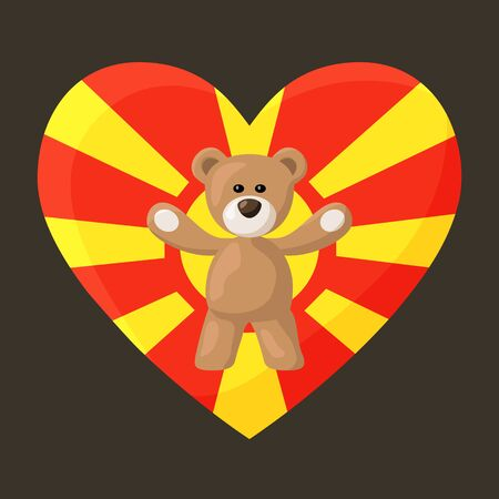 Teddy Bears with heart with flag of Macedonia. Illustration of travel souvenir from visiting the country. Illustration
