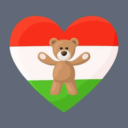 souvenir: Teddy Bears with heart with flag of Hungary also simple flag of Tajikistan. Illustration of travel souvenir from visiting the country. Illustration