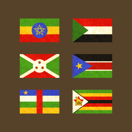 south sudan: Flags of Ethiopia, Sudan, Burundi, South Sudan, Central African Republic and Zimbabwe. Flags with light grunge dirty effect.