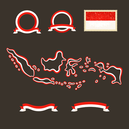 Outline map of Indonesia. Border is marked with ribbon in national colors. The package contains frames in national colors and stamp with flag.