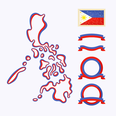 Outline map of Philippines. Border is marked with ribbon in national colors. The package contains frames in national colors and stamp with flag.