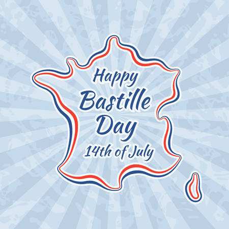 bastille: Happy Bastille Day and 14th July. Greeting card for French National Day. Retro with vintage background. Illustration