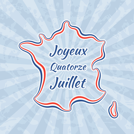 joyeux: Happy Bastille Day and 14th July. Greeting card for French National Day with text Joyeux Quatorze Juillet. Retro with vintage background.