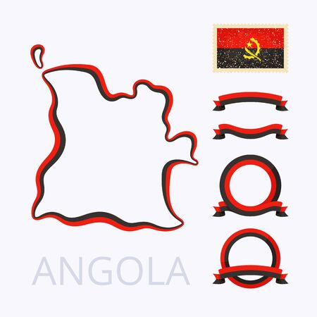 national border: Outline map of Angola. Border is marked with ribbon in national colors. The package contains frames in national colors and stamp with flag.
