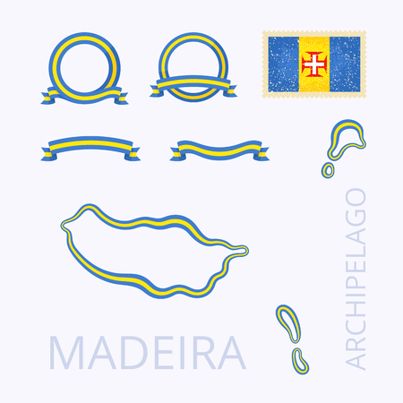 madeira: Outline map of Madeira. Border is marked with ribbon in national colors. The package contains frames in national colors and stamp with flag. Illustration