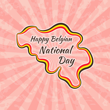 21: Happy Belgian National Day. Greeting card for 21 July. Retro with vintage background.