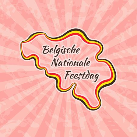 nationale: Happy Belgian National Day. Greeting card for 21 July with text Belgische Nationale Feestdag. Retro with vintage background.