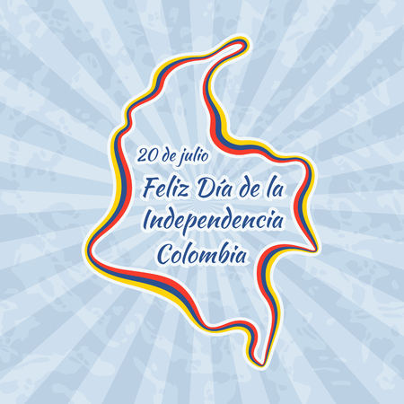 republic of colombia: Happy Independence Day in Colombia. Greeting card for 20 July with text Feliz Dia de la Independencia. Retro with vintage background.