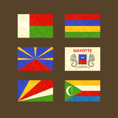 mayotte: Flags of Madagascar, Reunion, Seychelles, Mauritius, Mayotte and Comoros. Flags with light grunge dirty effect.