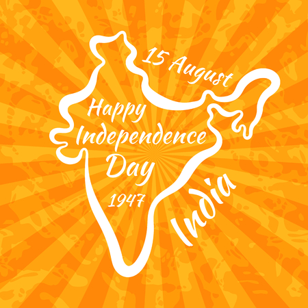 15 august: Happy Independence Day in India. Greeting card for 15 August with vintage background. Illustration