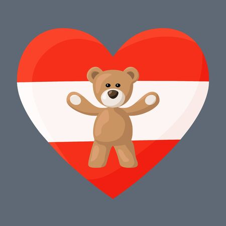 souvenir: Teddy Bears with heart with flag of Austria. Illustration of travel souvenir from visiting the country.
