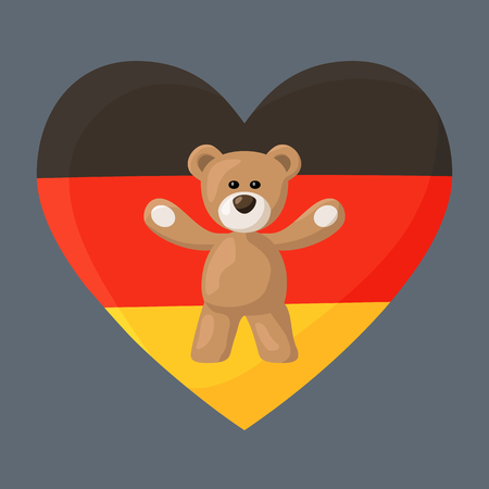 Teddy Bears with heart with flag of Germany. Illustration of travel souvenir from visiting the country.