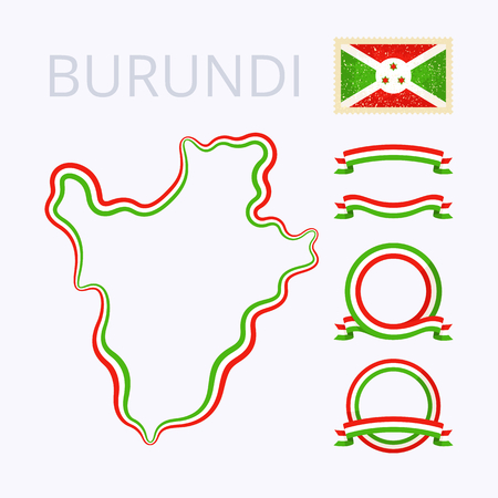 national colors: Outline map of Burundi. Border is marked with ribbon in national colors. The package contains frames in national colors and stamp with flag.