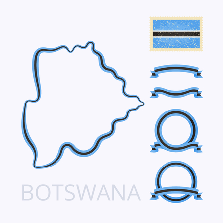 national border: Outline map of Botswana. Border is marked with ribbon in national colors. The package contains frames in national colors and stamp with flag. Illustration