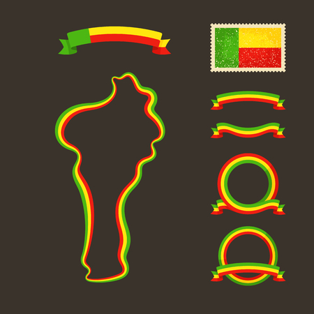 national colors: Outline map of Benin. Border is marked with ribbon in national colors. The package contains frames in national colors and stamp with flag. Illustration