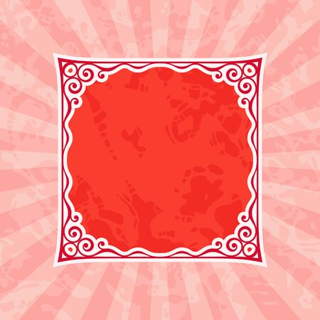 squared: Decorative squared vintage frame silhouette. Red vintage and retro background.