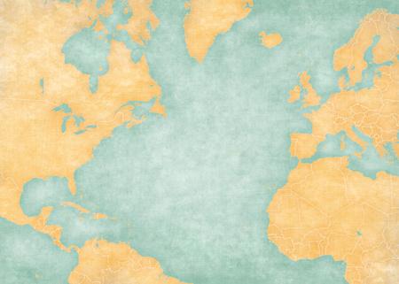 国の国境の北、大西洋の空のマップ。マップは、ビンテージの夏のスタイルと日当たりの良い雰囲気です。マップは、古い紙などに水彩画のような