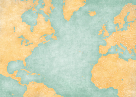 atlantic ocean: Blank map of North Atlantic Ocean with country borders. The Map is in vintage summer style and sunny mood. The map has soft grunge and vintage atmosphere, like watercolor painting on old paper. Stock Photo